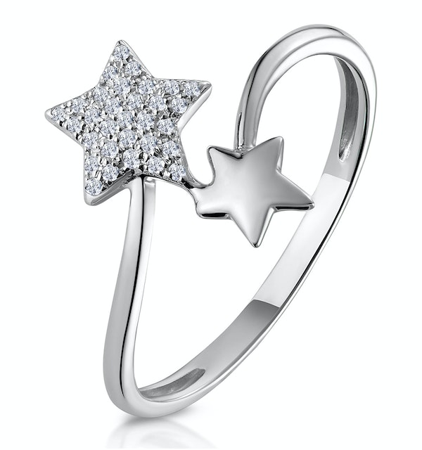 Diamond 2 Stars Ring From Stellato Collection in 9K White Gold - image 1