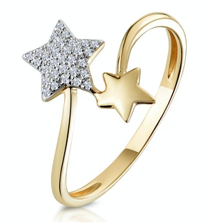 Diamond 2 Stars Ring in 9K Gold From Stellato Collection