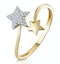 Diamond 2 Stars Ring in 9K Gold From Stellato Collection - image 1