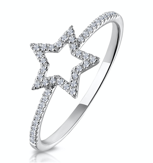 Diamond Stellato Star Ring with Diamond Shoulders in 9K White Gold - image 1