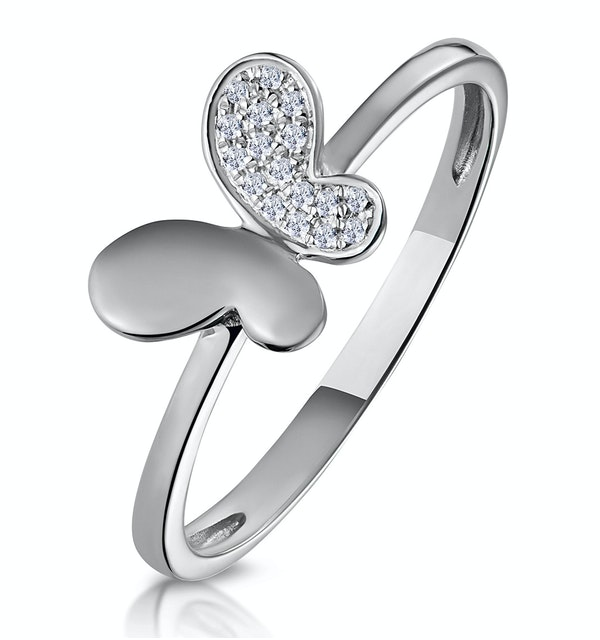 Stellato Diamond Butterfly Ring in 9K White Gold - image 1