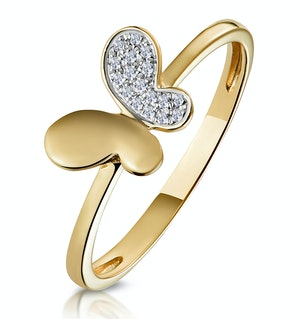 Stellato Collection Diamond Butterfly Ring in 9K Gold