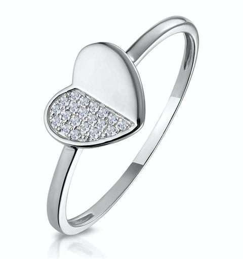 Stellato Diamond Pave Heart Ring in 9K White Gold - image 1