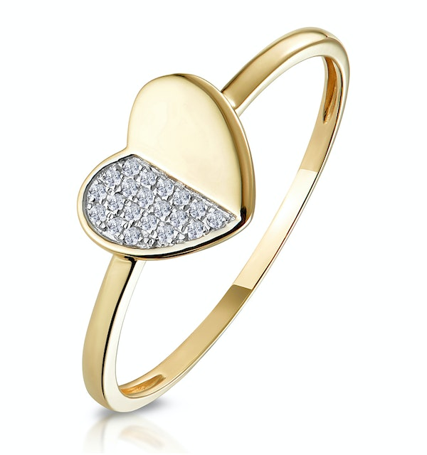 Stellato Collection Diamond Pave Heart Ring in 9K Gold - image 1