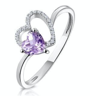 Amethyst and Diamond Stellato Hearts Ring in 9K White Gold