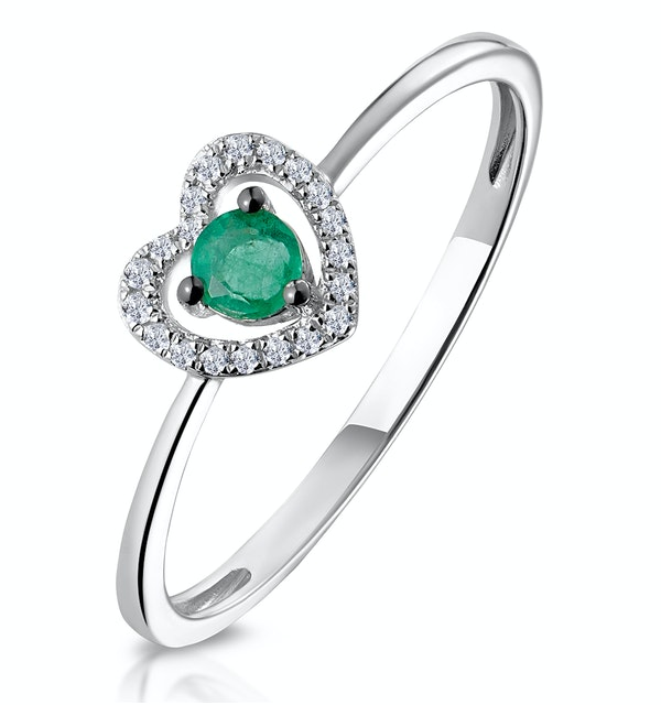 Emerald and Diamond Stellato Heart Ring in 9K White Gold - image 1