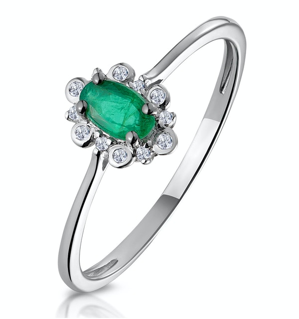 Emerald and Diamond Stellato Cluster Ring in 9K White Gold - image 1