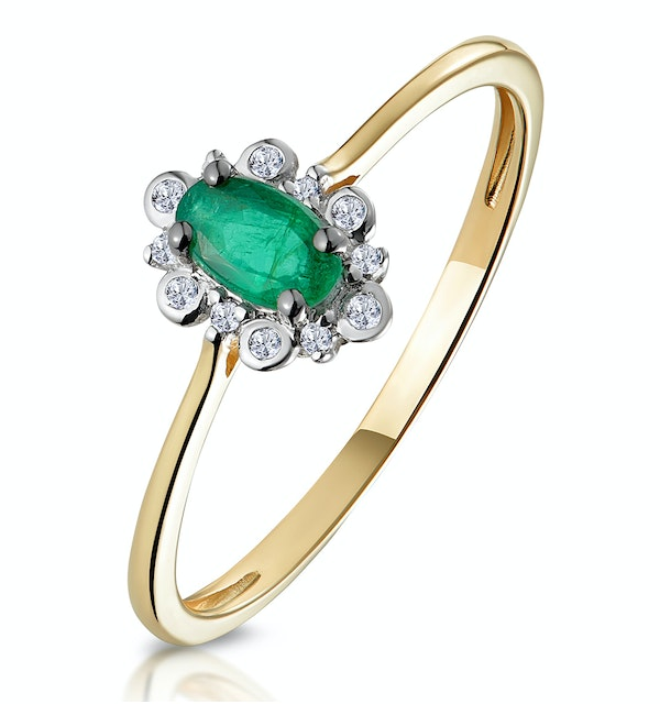 Emerald and Diamond Stellato Cluster Ring in 9K Gold - image 1