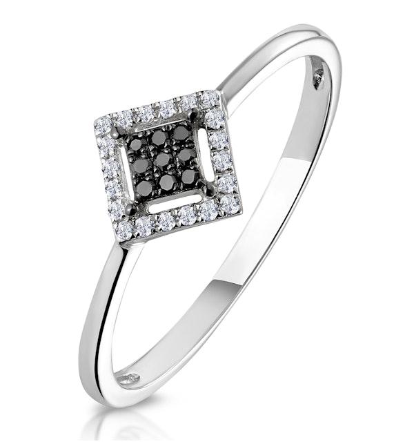 Diamond and Black Diamond Stellato Squares Ring in 9K White Gold - image 1