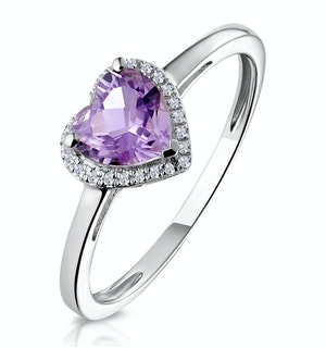 Halo Amethyst and Diamond Stellato Heart Ring in 9K White Gold