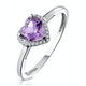 Halo Amethyst and Diamond Stellato Heart Ring in 9K White Gold - image 1