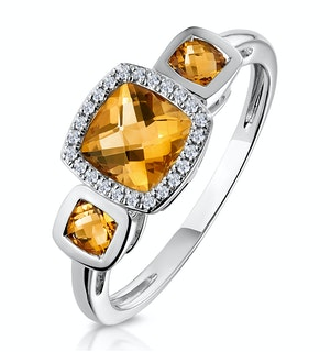 Halo 1.26ct Citrine and Diamond Stellato Ring in 9K White Gold