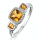 Halo 1.26ct Citrine and Diamond Stellato Ring in 9K White Gold - image 1