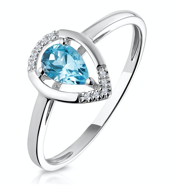 Pear Shaped Swiss Blue Topaz Diamond Stellato Ring in 9K White Gold - image 1