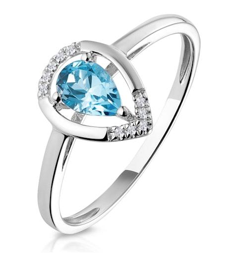 Pear Shaped Swiss Blue Topaz Diamond Stellato Ring in 9K White Gold - image 1