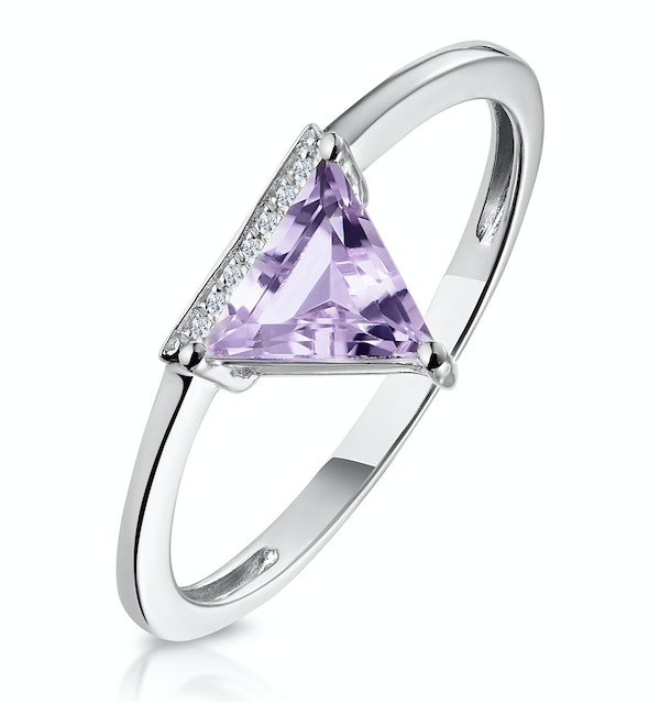 Triangle Amethyst and Diamond Stellato Ring in 9K White Gold - image 1