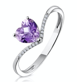 Heart Amethyst and Diamond Stellato Ring in 9K White Gold