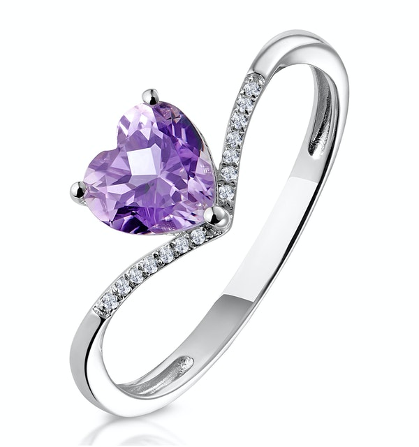 Heart Amethyst and Diamond Stellato Ring in 9K White Gold - image 1