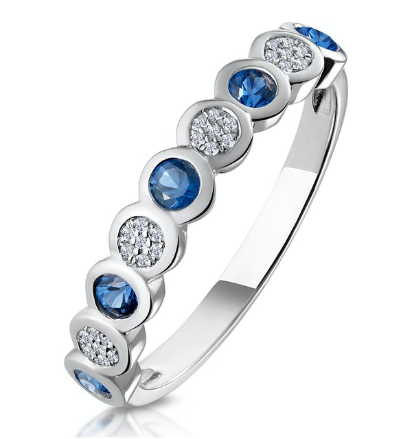 Stellato Sapphire and Diamond Eternity Ring in 9K White Gold - image 1