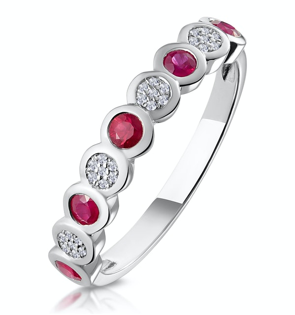 Stellato Ruby and Diamond Eternity Ring in 9K White Gold - image 1