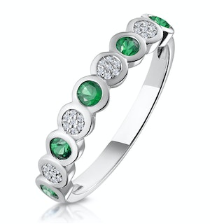 Stellato Emerald and Diamond Eternity Ring in 9K White Gold