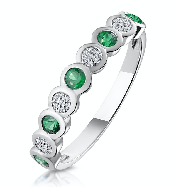Stellato Emerald and Diamond Eternity Ring in 9K White Gold - image 1