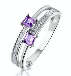 Twin Amethyst and Diamond Stellato Ring in 9K White Gold