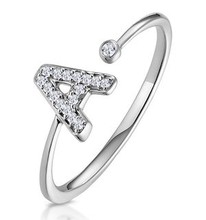 Lab Diamond Initial 'A' Ring 0.07ct Set in 925 Silver