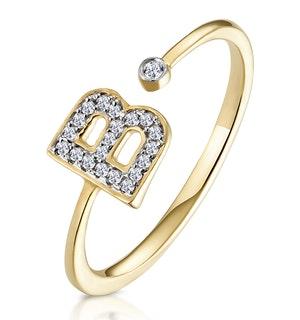 Diamond Initial 'B' Ring 0.07ct set in 9K Gold