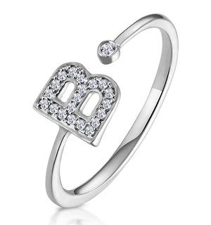 Lab Diamond Initial 'B' Ring 0.07ct Set in 925 Silver