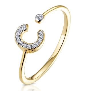 Diamond Initial 'C' Ring 0.07ct set in 9K Gold