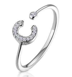 Lab Diamond Initial 'C' Ring 0.07ct Set in 925 Silver