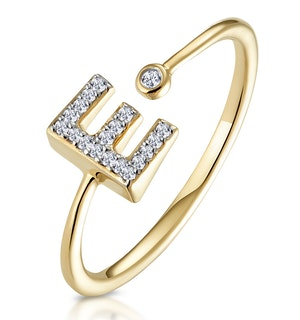 Diamond Initial 'E' Ring 0.07ct set in 9K Gold