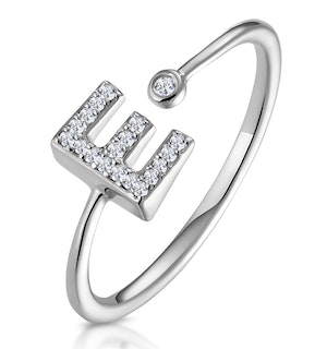 Lab Diamond Initial 'E' Ring 0.07ct Set in 925 Silver