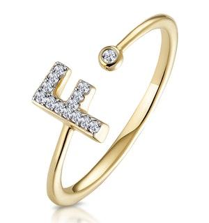 Diamond Initial 'F' Ring 0.07ct set in 9K Gold