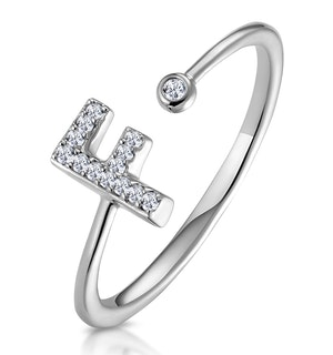 Lab Diamond Initial 'F' Ring 0.07ct Set in 925 Silver