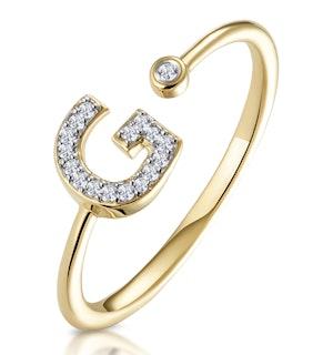 Diamond Initial 'G' Ring 0.07ct set in 9K Gold