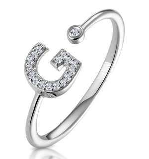 Lab Diamond Initial 'G' Ring 0.07ct Set in 925 Silver