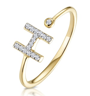 Diamond Initial 'H' Ring 0.07ct set in 9K Gold