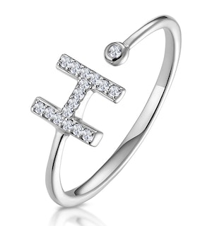 Lab Diamond Initial 'H' Ring 0.07ct Set in 925 Silver