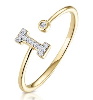 Diamond Initial 'I' Ring 0.07ct set in 9K Gold