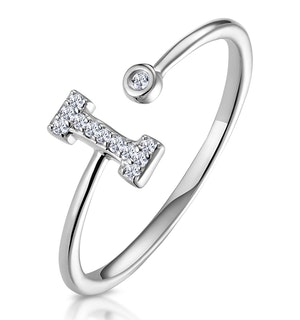 Lab Diamond Initial 'I' Ring 0.07ct Set in 925 Silver