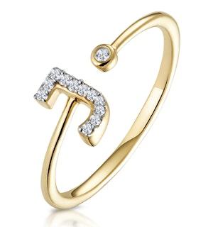 Diamond Initial 'J' Ring 0.07ct set in 9K Gold