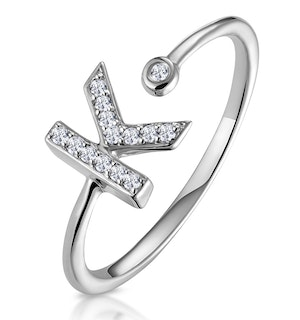 Lab Diamond Initial 'K' Ring 0.07ct Set in 925 Silver