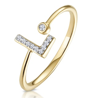 Diamond Initial 'L' Ring 0.07ct set in 9K Gold