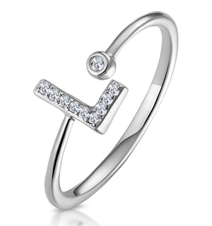 Lab Diamond Initial 'L' Ring 0.07ct Set in 925 Silver
