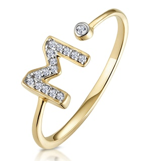 Diamond Initial 'M' Ring 0.07ct set in 9K Gold