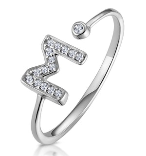 Lab Diamond Initial 'M' Ring 0.07ct Set in 925 Silver