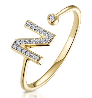 Diamond Initial 'N' Ring 0.07ct set in 9K Gold