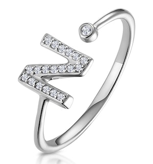Lab Diamond Initial 'N' Ring 0.07ct Set in 925 Silver